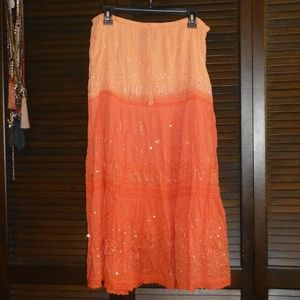 Bohemian Cafe Orange Ombre Gypsy Maxi Boho Skirt M